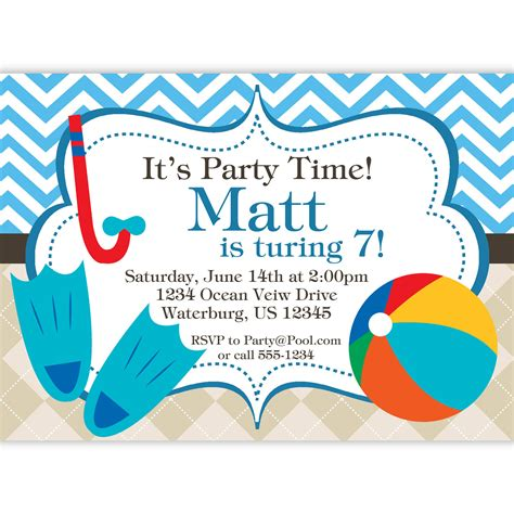 pool party invitation blue chevron and tan argyle beach