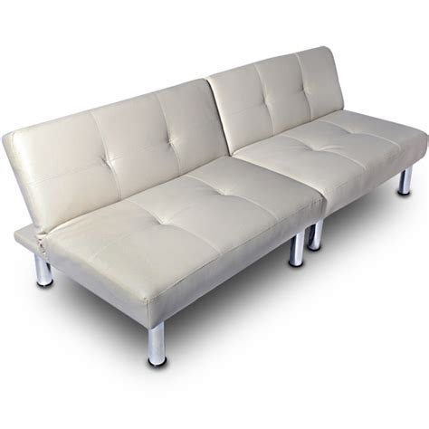 leather bed settees modern sofa bed settee futon faux leather 3 2 seater cream
