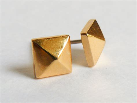 Gold Pyramid Studs gold pyramid everyday stud earrings 187 hook matter