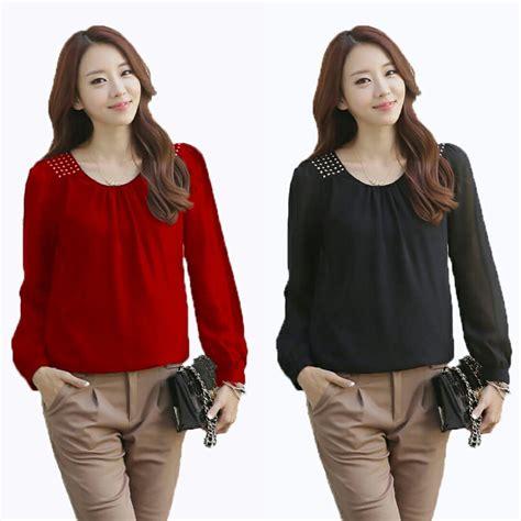Blouse Wanita Lengan Panjang Warna Atasan Wanita Blouse jual blouse wanita model lengan panjang warna hitam dan