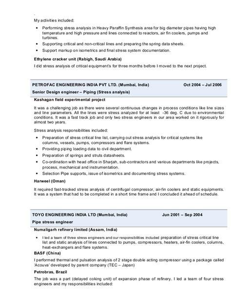Piping Stress Engineer Sle Resume by Resume Tarun Sharma Pipe Stress Engineer