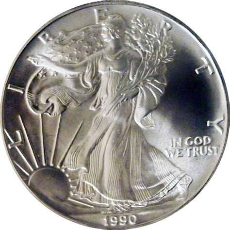 1 Oz Silver Dollar Worth - 1990 american silver eagle dollar bu 1oz silver