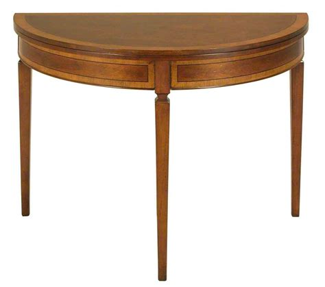 foyer accent tables mahogany demilune and round folding top sofa console foyer