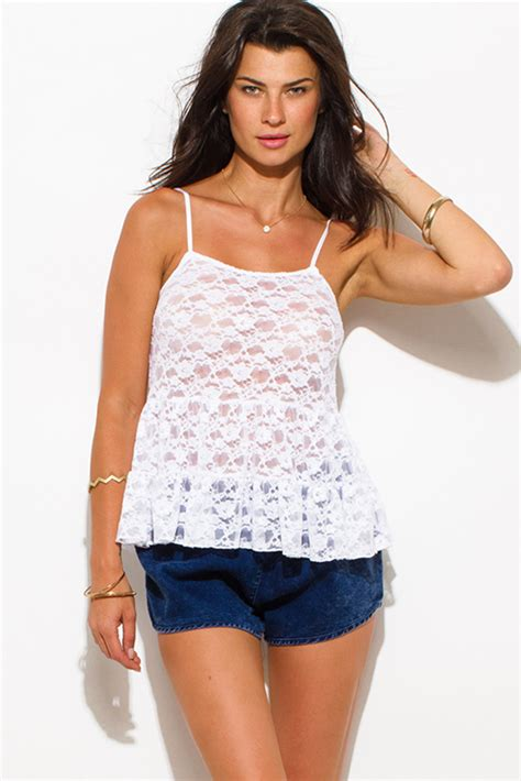 Sheer Lace Tank Top shop white sheer crochet lace tiered spaghetti