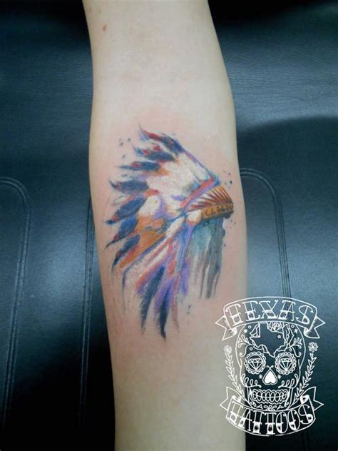 watercolor tattoo texas watercolor american headdress done by josh at