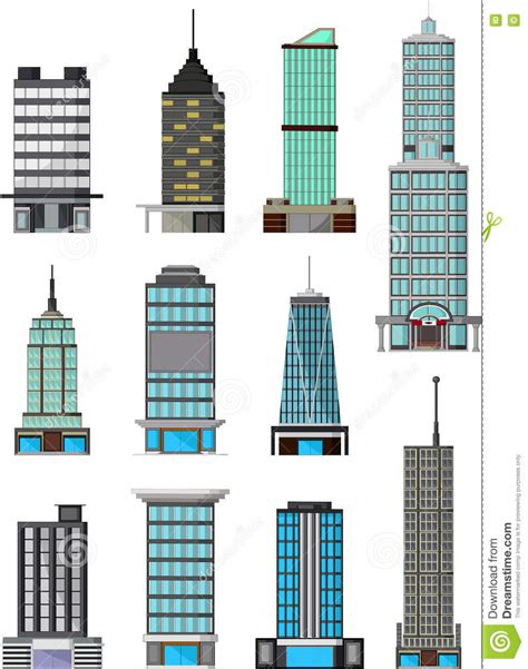 different types of building plans different kinds of buildings stock illustration
