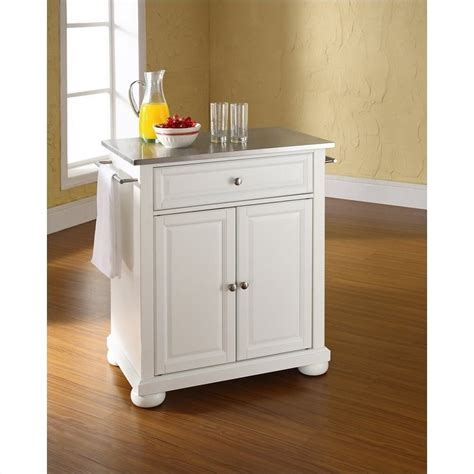 white kitchen island with stainless steel top crosley furniture alexandria stainless steel top white