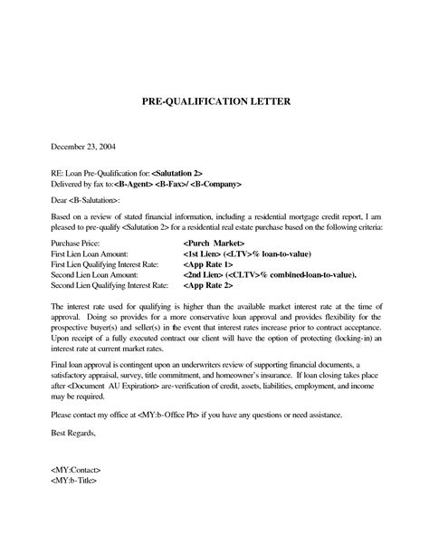 Mortgage Qualifying Letter Pre Qualification Letter Free Bike