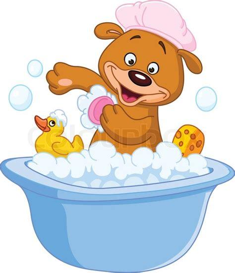 Baby Duck Bathtub Teddy Bear Taking A Bath Stock Vector