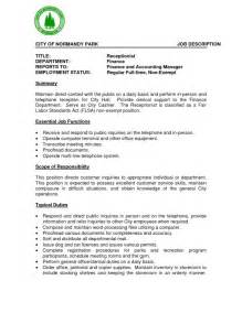 Resume Sample Job Description by Receptionist Job Description Resume Resume Format