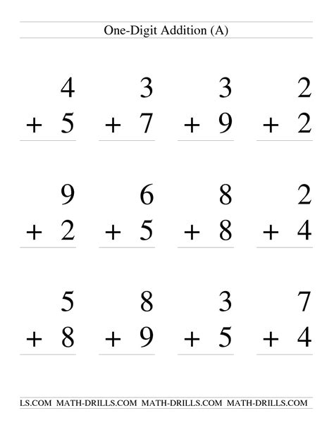 Digit Addition Worksheets by Single Digit Addition Some Regrouping 12 Per Page A