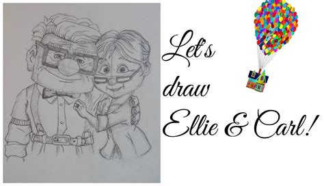 Drawing Up by Speed Drawing Ellie Carl Fredricksen Disney Pixar S