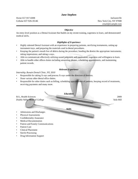 resume format for dentist freshers assistant entry level freshers dental assistant resume template