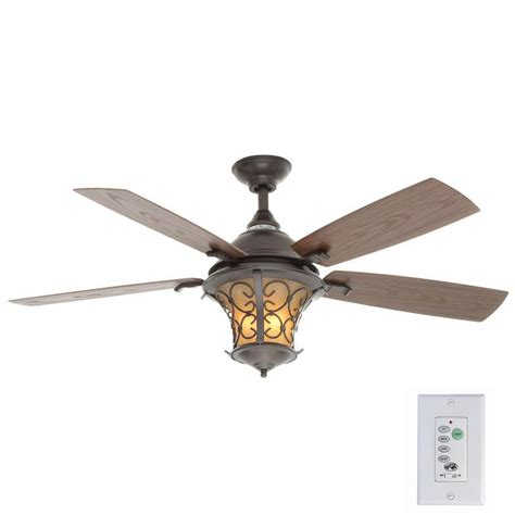 indoor outdoor ceiling fan with light hton bay veranda ii 52 in indoor outdoor iron