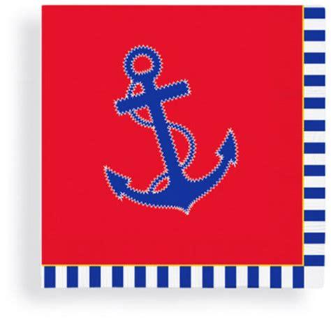 red white amp blue anchor beverage napkins nautical