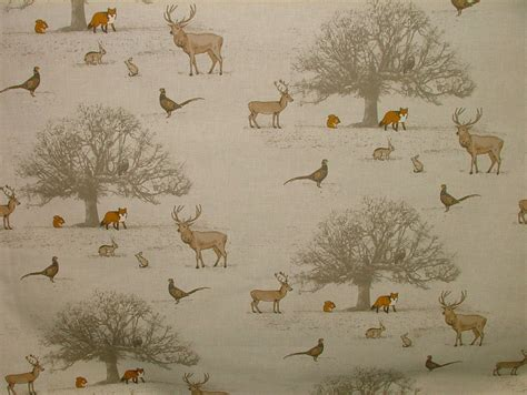 stag print curtains fryetts quot tatton autumn quot woodland fox stag deer scene