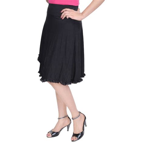 buy black knee length cotton lycra flair skirt