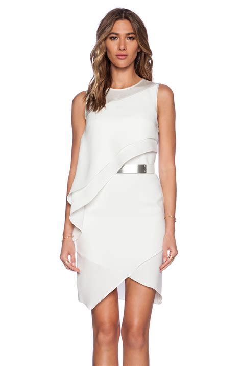Halston Asymmetric Drape Dress In White Lyst