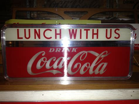 coca cola light up sign 50s coca cola light up sign quot lunch with us quot collectors
