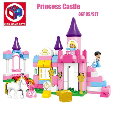 H Setelan Kid 2in1 86pcs large size 2in1 s pink princess castle model princess figures building blocks