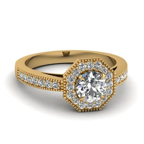 yellow gold white engagement wedding ring in