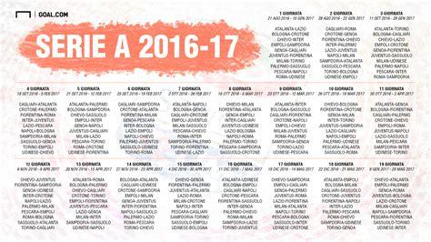 Calendario 7 Giornata Serie A Calendario Serie A 2016 2017 Le 38 Giornate