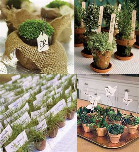 gardening themed favors small potted plants place cards and favors