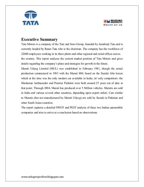 Maruti Suzuki Mba Project by A Project Report On Competitor Analysis Of Tata Motors