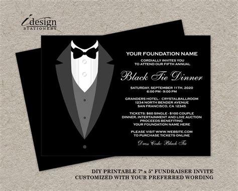 black tie dinner fundraising invitations printable tuxedo fundraiser invitation diy
