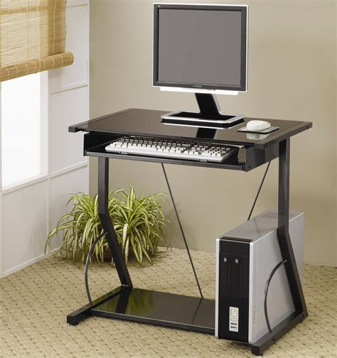 Computer Desk Tray Black Metal Computer Desk With Roll Out Keyboard Tray And Lower Shelf Coaster 800217