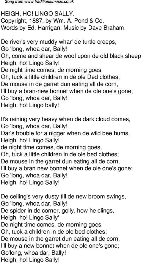 Old Time Song Lyrics for 32 Heigh Ho Lingo Sally