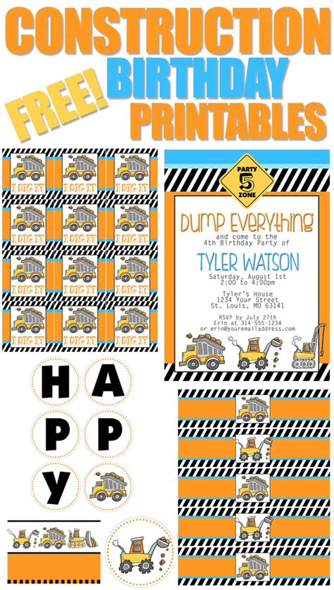 Free Construction Printables construction themed birthday with free printables