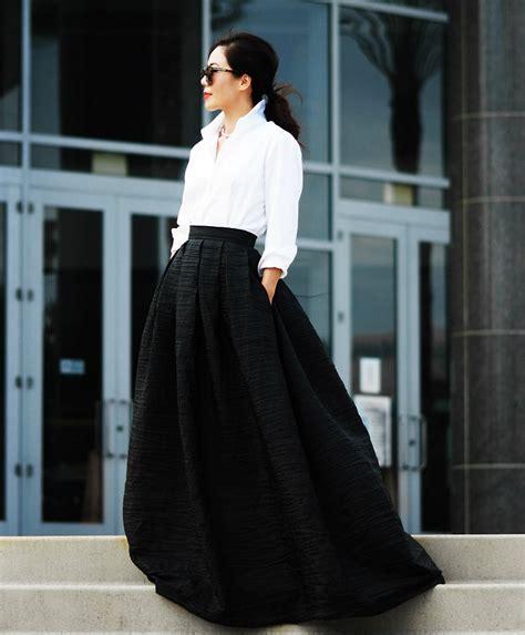 hallie s maxi skirt white button shirt black