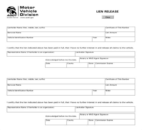 vehicle release form template 11 sle lien release forms sle forms