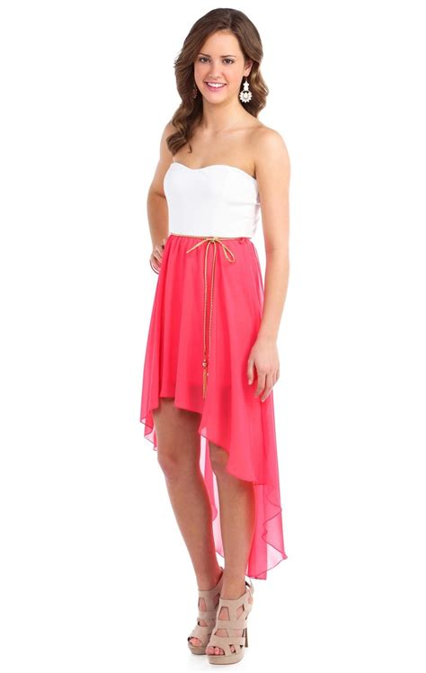 Dress Cassual deb shops coral strapless belted chiffon high low casual