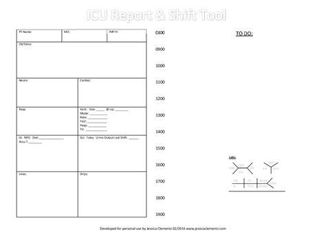 rn shift report template brain sheet icu report and shift tool icu