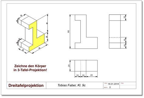 Technische Zeichnung Ansichten by Technisches Zeichnen Dreitafelprojektion