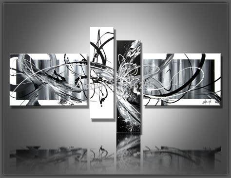 black and grey wall decor 4 pcs set large canvas abstract painting black