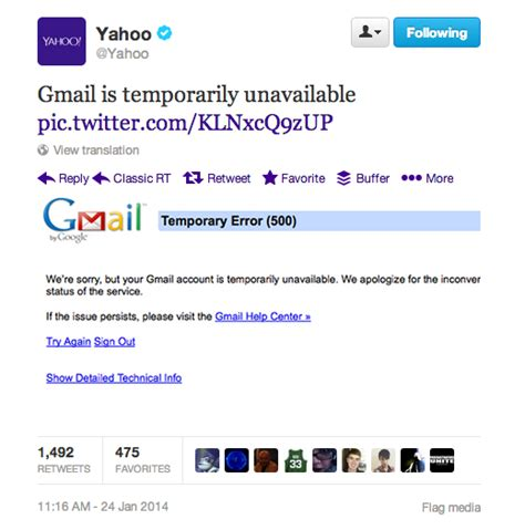 Yahoo Email Unavailable | when gmail went down yahoo poked fun on twitter then