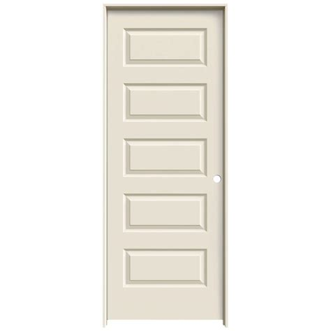 Primed Interior Doors Jeld Wen 24 In X 80 In Molded Smooth 5 Panel Primed White Hollow Composite Single Prehung
