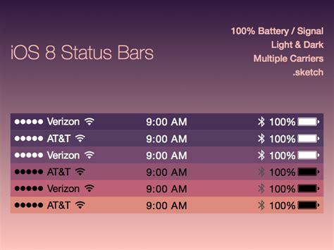 ios top bar ios 8 status bars sketch freebie download free resource