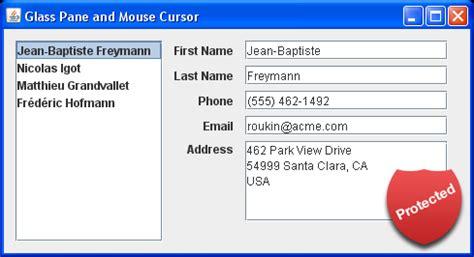 java swing event glasspane intercepts event glasspane 171 swing components