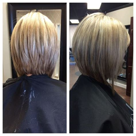 front and back view of long hair styles long inverted bob our stylist work pinterest