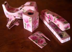 Pink Desk Accessory Sets Custom Painted 5 Office Supply Desk Set Accessories Auntievelyn Business On Artfire