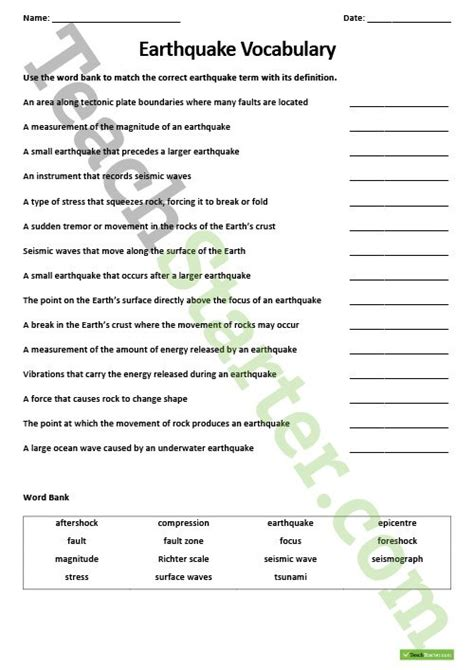 Worksheets On Earthquakes by Collection Of Earthquake Vocabulary Worksheet Bluegreenish