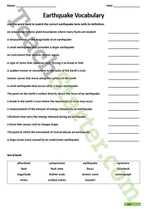 earthquake worksheets earthquakes teaching resource pack teach starter