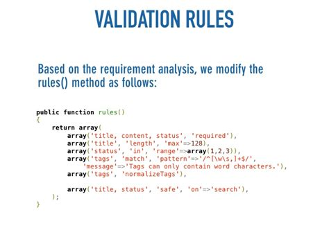 yii tutorial validation rules get things done with yii quickly build webapplications