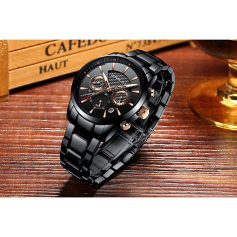 crrju jam tangan analog chrono pria stainless steel strap