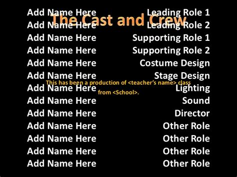 end credits template use the rolling credits slide template to end a