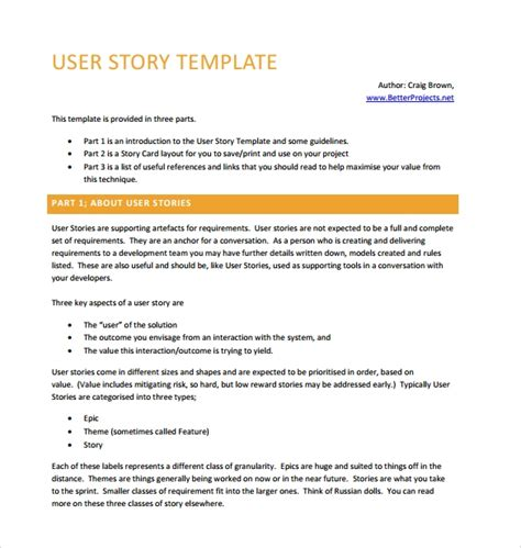 user story template pdf 9 user story templates pdf excel sle templates